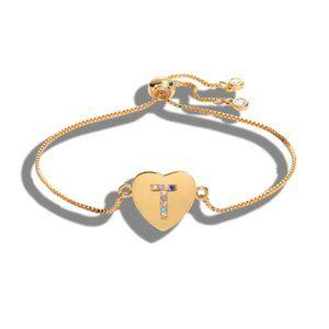 "Gold Heart Letter ""T"" Initial Name CZ Bracelet"